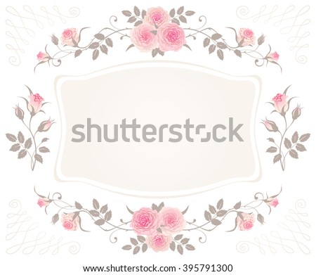 Vintage Floral Frame With Pink Roses Isolated On A White