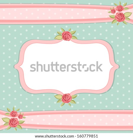 Vintage Floral Frame With Roses In Shabby Chic Style 160779851
