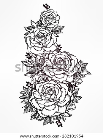30 rose drawing outline vectors download free vector art graphics 123freevectors. Black Bedroom Furniture Sets. Home Design Ideas