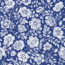 Vintage floral illustration. Seamless pattern. Wild Roses. Blue and white