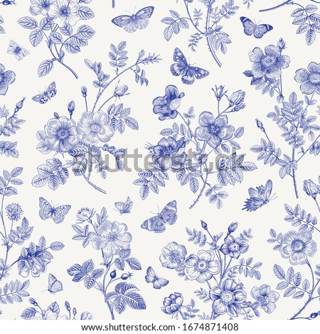 Vintage floral illustration. Seamless pattern. Wild Roses with butterflies. Blue and white. Toile de Jouy.