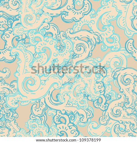 Vintage floral oriental seamless pattern with geometric and nature themes