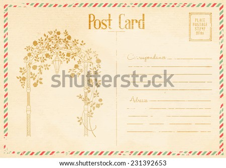 vintage floral postcard with