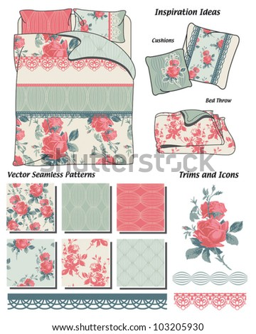 Vintage Floral Rose Vector Seamless Patterns.  Create your own fabric projects or use the bedding template to create your own. - stock vector