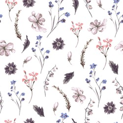 Vintage Floral Seamless Background with Wildflowers, Vector watercolor Illustration