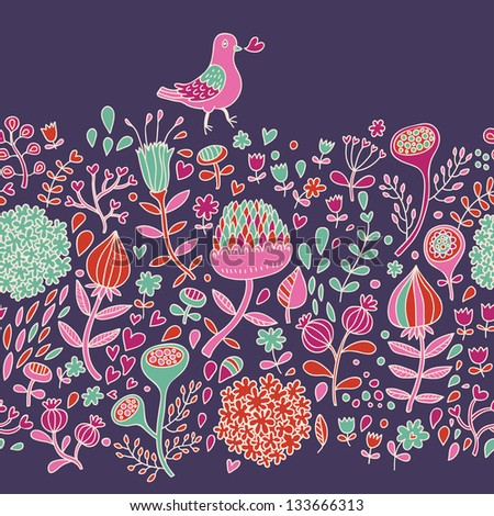 Vintage Floral Seamless Pattern In Bright Colors. Retro ...