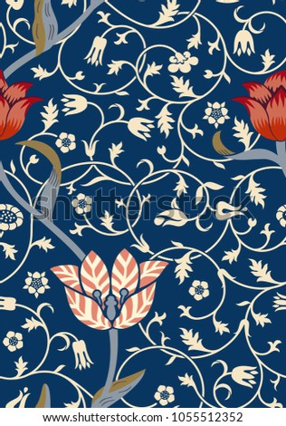 Vintage floral seamless pattern on dark background. Vector illustration.