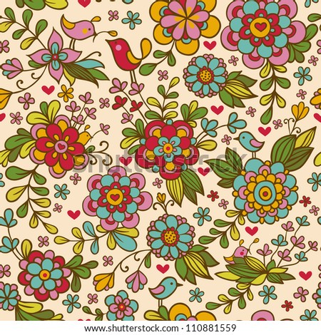 Vintage floral seamless pattern. Vector. Seamless texture with flowers and birds. Endless floral pattern.