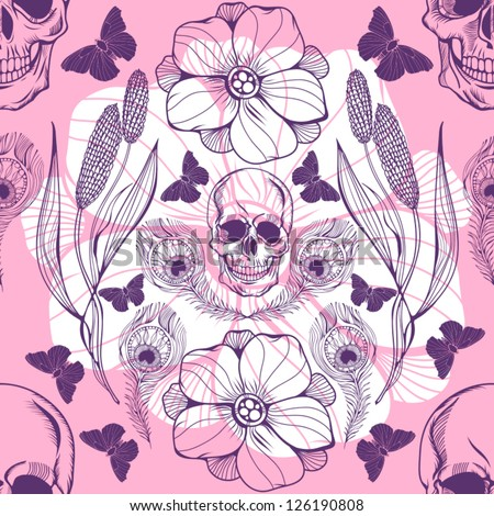 Vintage floral seamless pattern with skull, peacock feather and butterflies /pink.