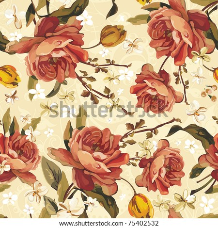Vintage Floral Seamless vector pattern of the Beautiful Roses. Stylish ornamental illustration texture.