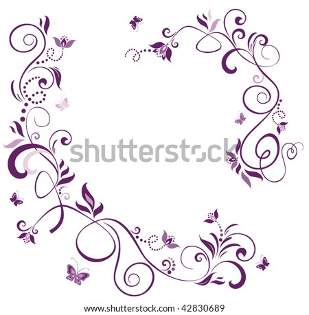 stock vector vintage floral violet border 42830689 Wedding Borders And Frames Free Download