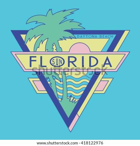 Vintage Florida surf typography, t-shirt graphics, vectors
