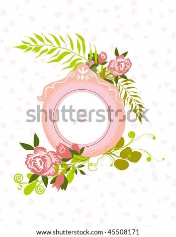vintage flourish frame isolated over hearts background
