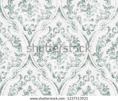 Vintage flourish ornamented pattern Vector. Victorian Royal texture. Flower decorative design. Light green color decors Сток-фото ©