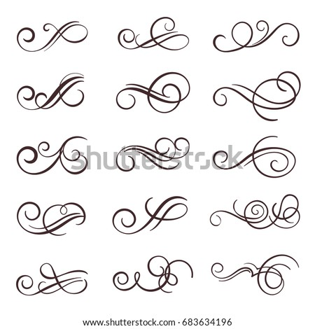 Vintage flourish swirl calligraphic  set, vector ornament design.