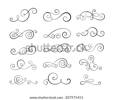 Vintage flourish swirls collection. EPS10 vector decorative elements.