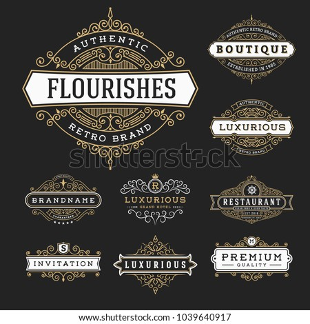 Vintage Flourishes Frame Banner Label Collection. Vector illustration