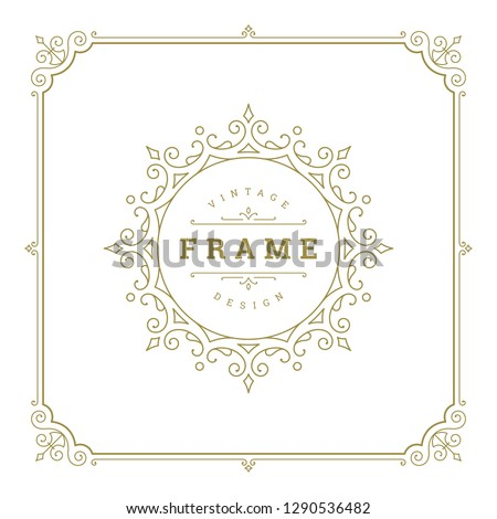 Vintage flourishes ornament frame template vector illustration. Victorian borders for greeting cards, wedding invitations, advertising or other design and place for text. #1290536482