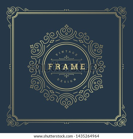 Vintage flourishes ornament swirls lines frame template vector illustration. Victorian borders for greeting cards, wedding invitations, advertising or other design and place for text. #1435264964