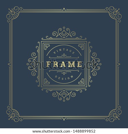 Vintage flourishes ornament swirls lines frame template vector illustration victorian ornate border for greeting cards, wedding invitations, advertising or other design and place for text. #1488899852