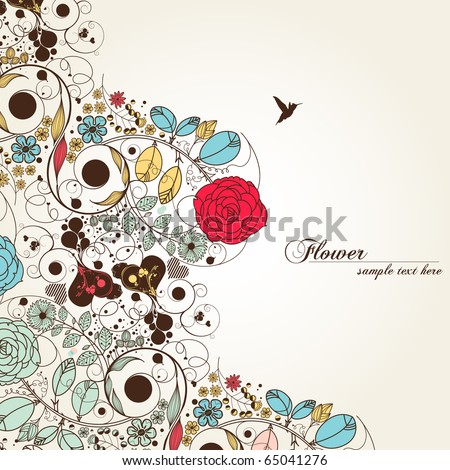 vintage flower - stock vector