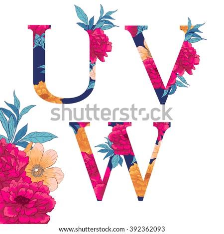 vintage flower alphabet hand
