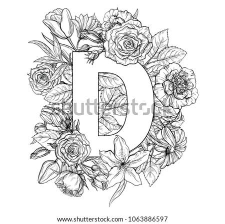 Vintage Flower Alphabet Hand Drawn Vector Illustration Isolated On White Background My Portfolio Have