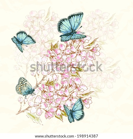Vintage flower background Beautiful invitation card with apple flower and butterfly