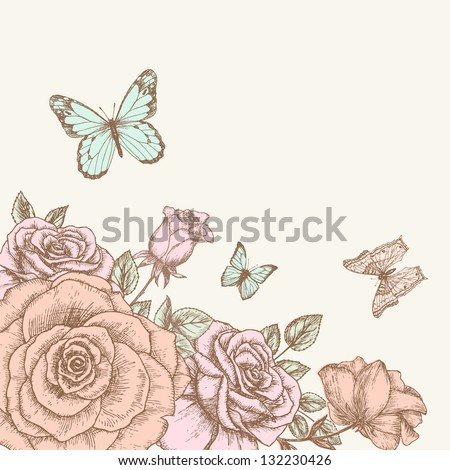 Vintage flower background. Beautiful invitation card with rose and butterfly - stock vector