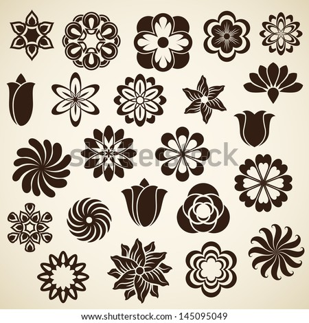 vintage flower buds vector