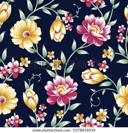 vintage flower pattern on navy...