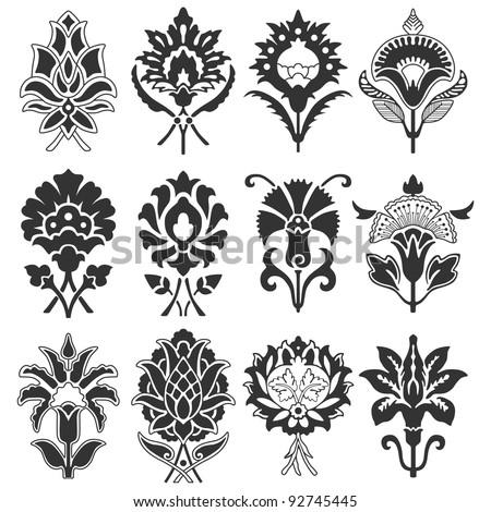 Vintage flower set. Vector illustration.