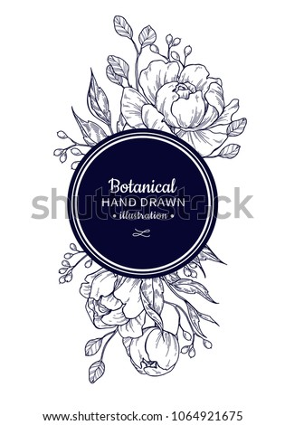 Vintage flower vector frame drawing. Peony, rose, leaves and berry sketch composition. Engraved botanical bouquet. Hand drawn floral wedding invitation, label template, anniversary card.