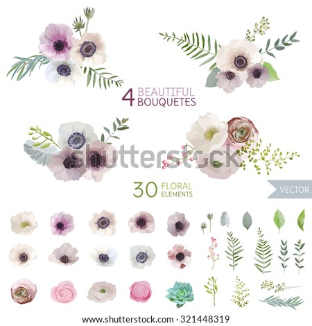 vintage flowers and leaves   in