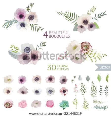 vintage flowers and leaves   in