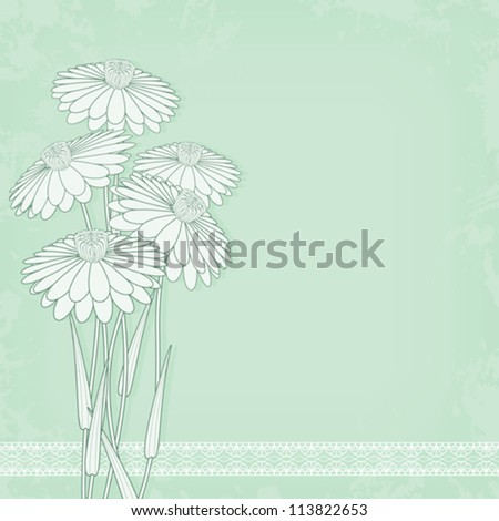 vintage flowers on abstract grunge background lace decorated
