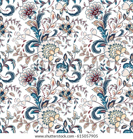 Vintage flowers seamless background in provence style. Vector blue beige pattern on white.