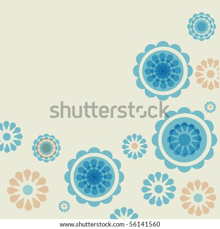 Vintage flowers. Vector greeting card.