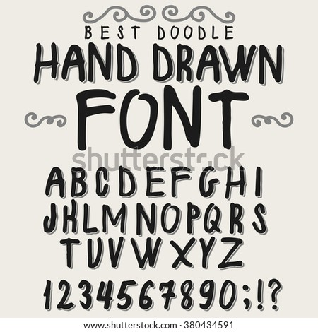 Vintage font alphabet, hand drawn vector font.  Old style font typeface, vector font typography, font for labels, headlines, posters