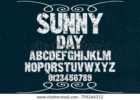 vintage font alphabet handcrafted vector named sunny day