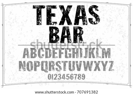 vintage font alphabet handcrafted vector named texas bar