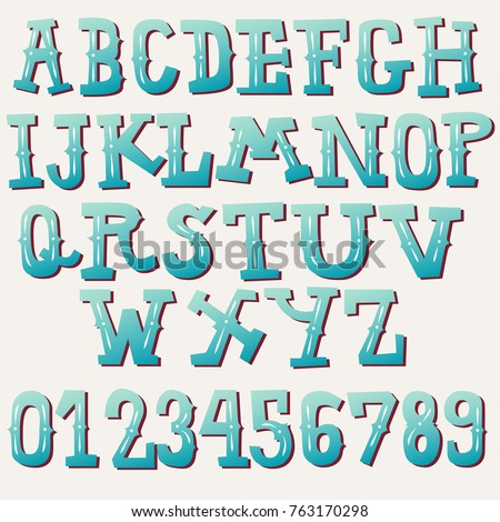 vintage font collection cartoon