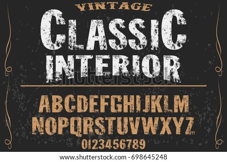 vintage font  handcrafted vector named classic interior