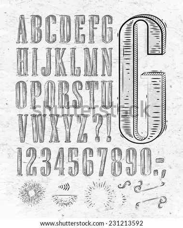 Vintage font set letters in retro style old alphabet on paper