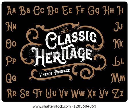 "Vintage font set named ""Classic Heritage"" with decorative ornate on black background"