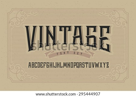 vintage font set on cardboard...