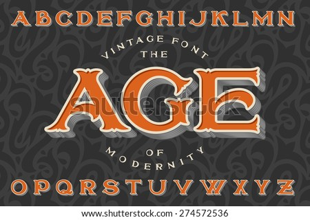 "Vintage font ""The Age of Modernity"". Stylish retro art-nouveau typeface with engraved technique embossing. With dark seamless pattern on background."