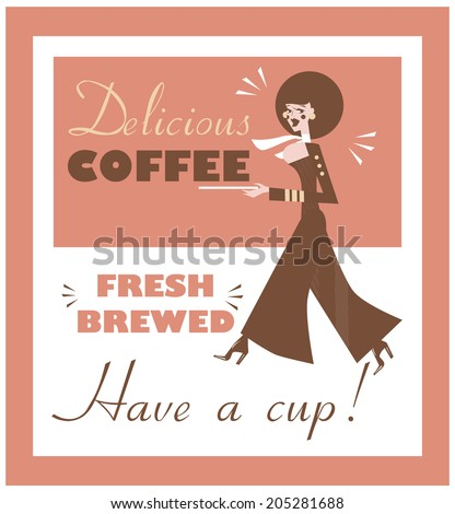 Vintage Food & Drink Poster Print Coffee Vintage sign - Fresh Brewed Coffee clean sign