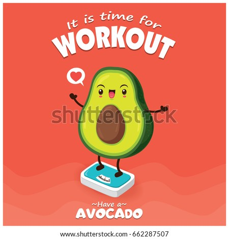 Vintage food poster design with avocado character.