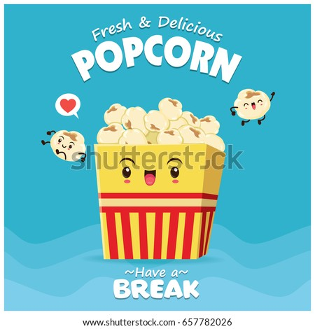 Vintage food poster design with popcorn character.